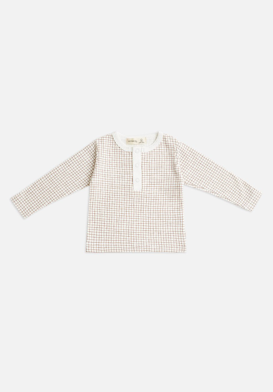 Miann & Co Kids - Organic Cotton Kids Basics - Long Sleeve T-Shirt - Cinnamon Grid