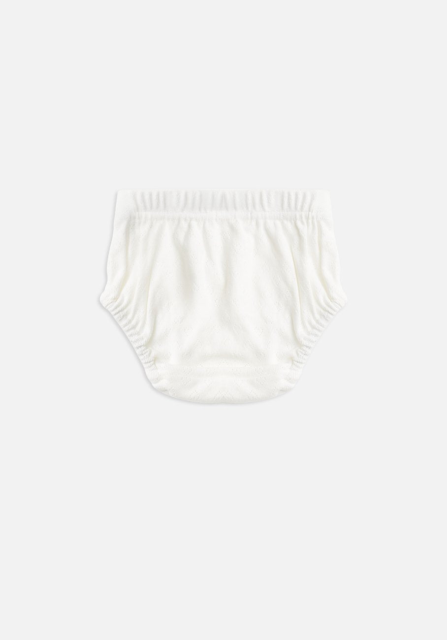Miann & Co Baby - Organic Cotton Baby Basics - Pointelle Bloomer - Ivory