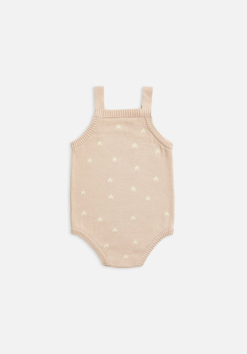 Baby Knit pink star bodysuit
