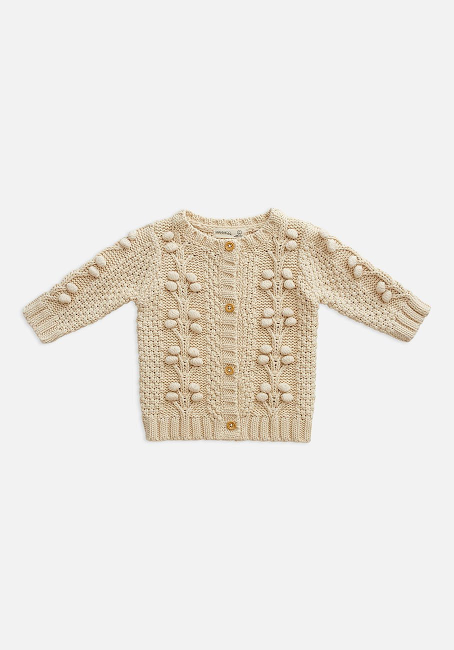 Baby beige biscotti cable knit cardigan