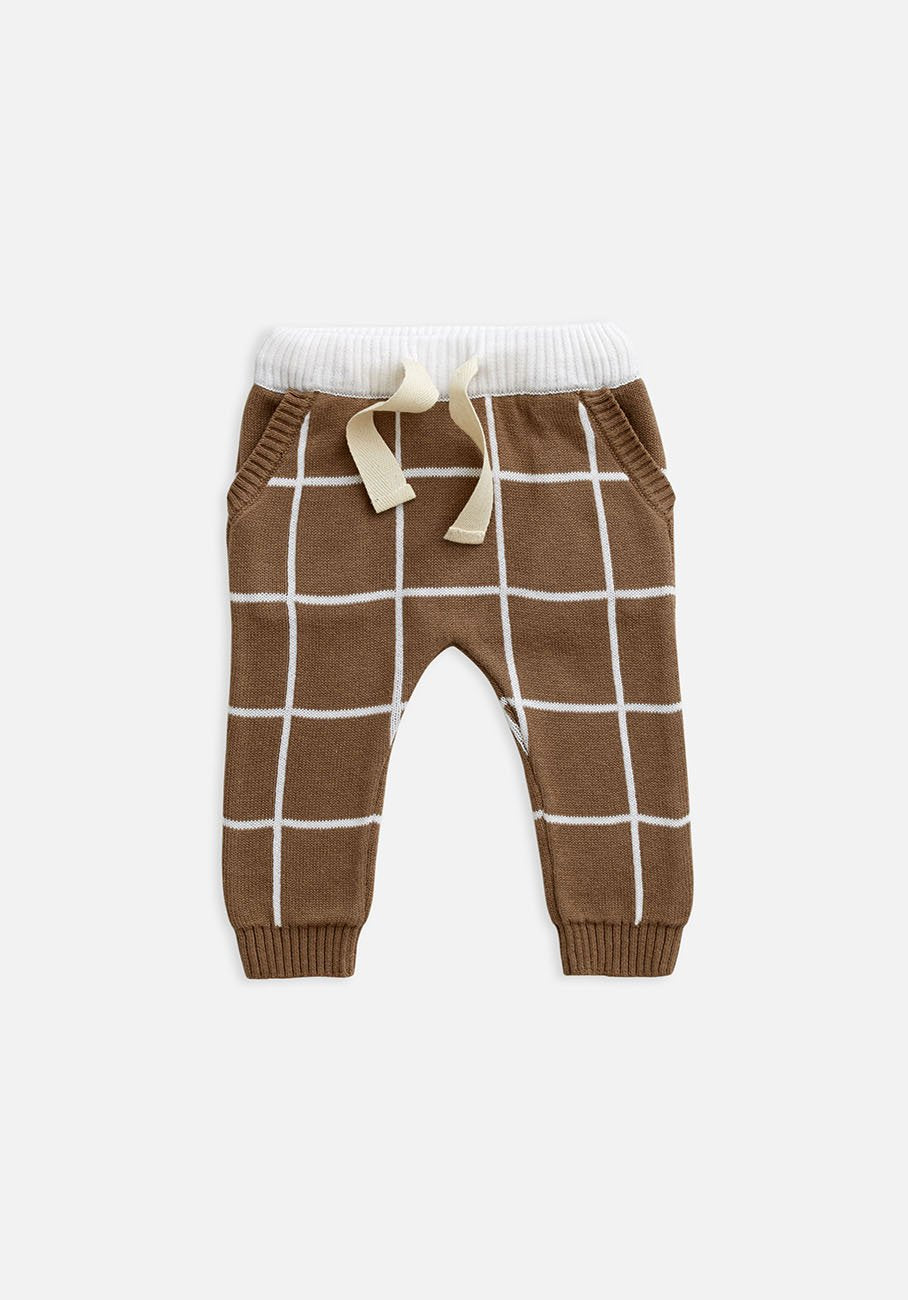Miann & Co Kids - Knitted Pants - Café Au Lait Grid