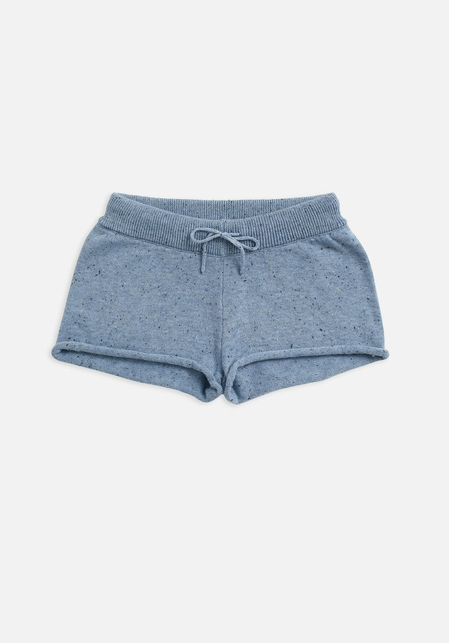 kids slate blue knit shorts