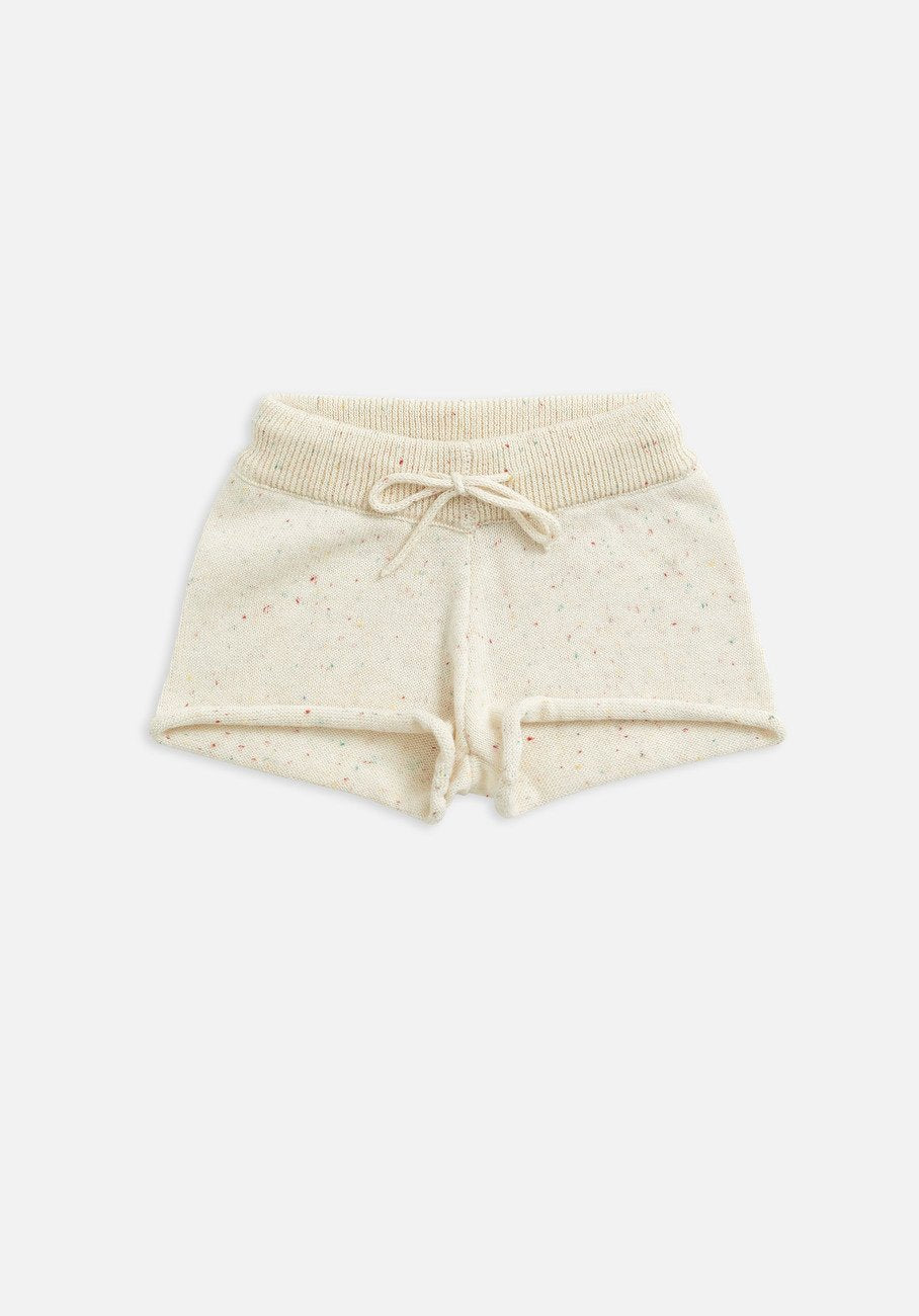 kids biscotti speckle knit shorts
