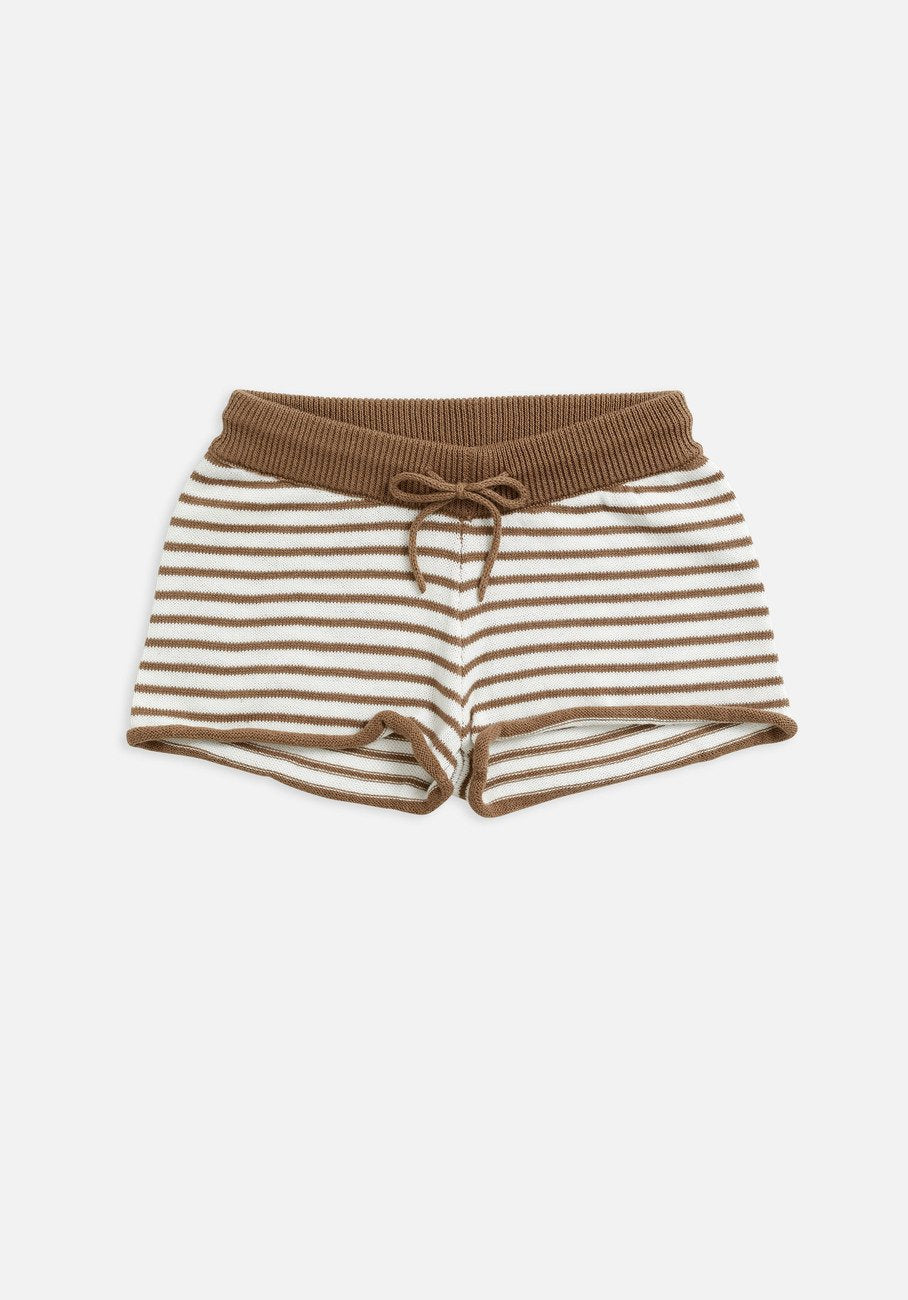 kids brown stripe knit shorts