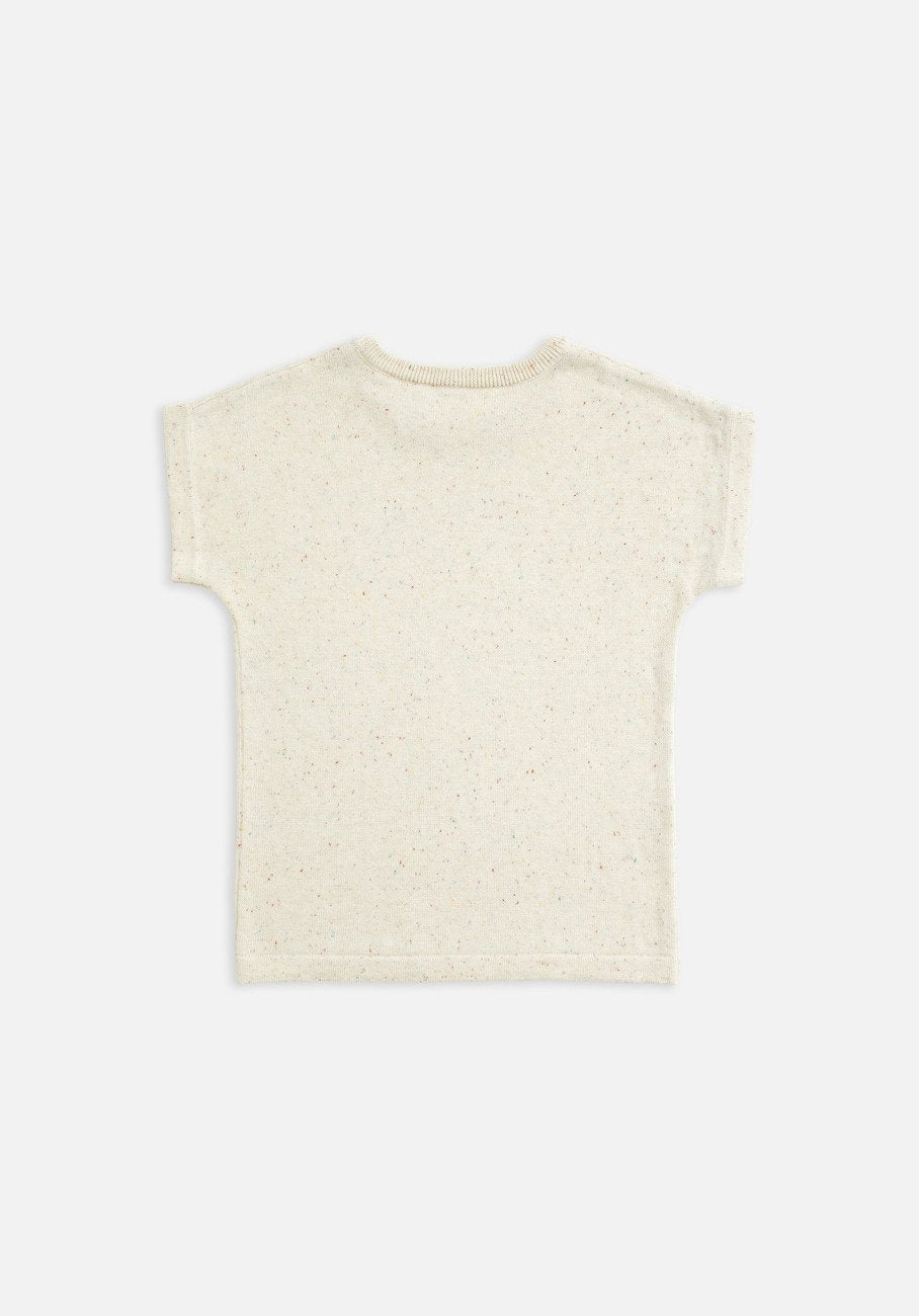 Kids knit T-shirt Biscotti speckle