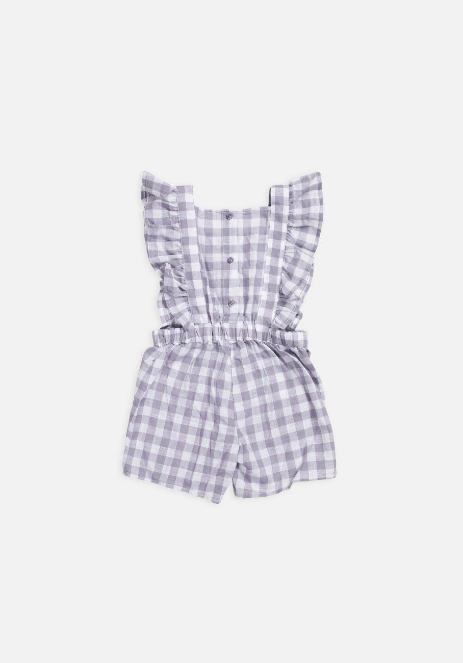Miann & Co Kids - Frill Overalls - Lavender Grey Gingham