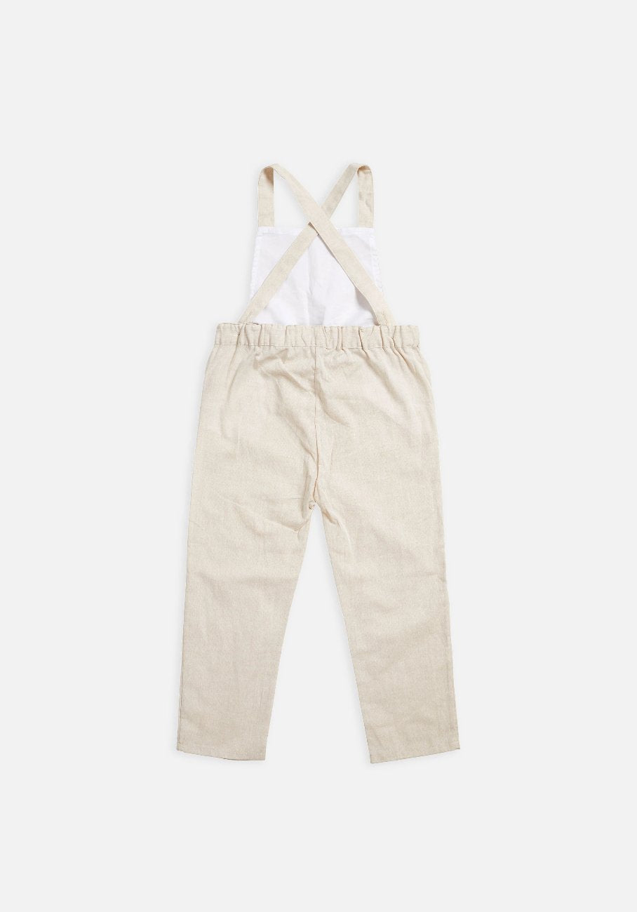 Miann & Co - Kids Cross Back Overalls - Natural Linen - MIANN & CO