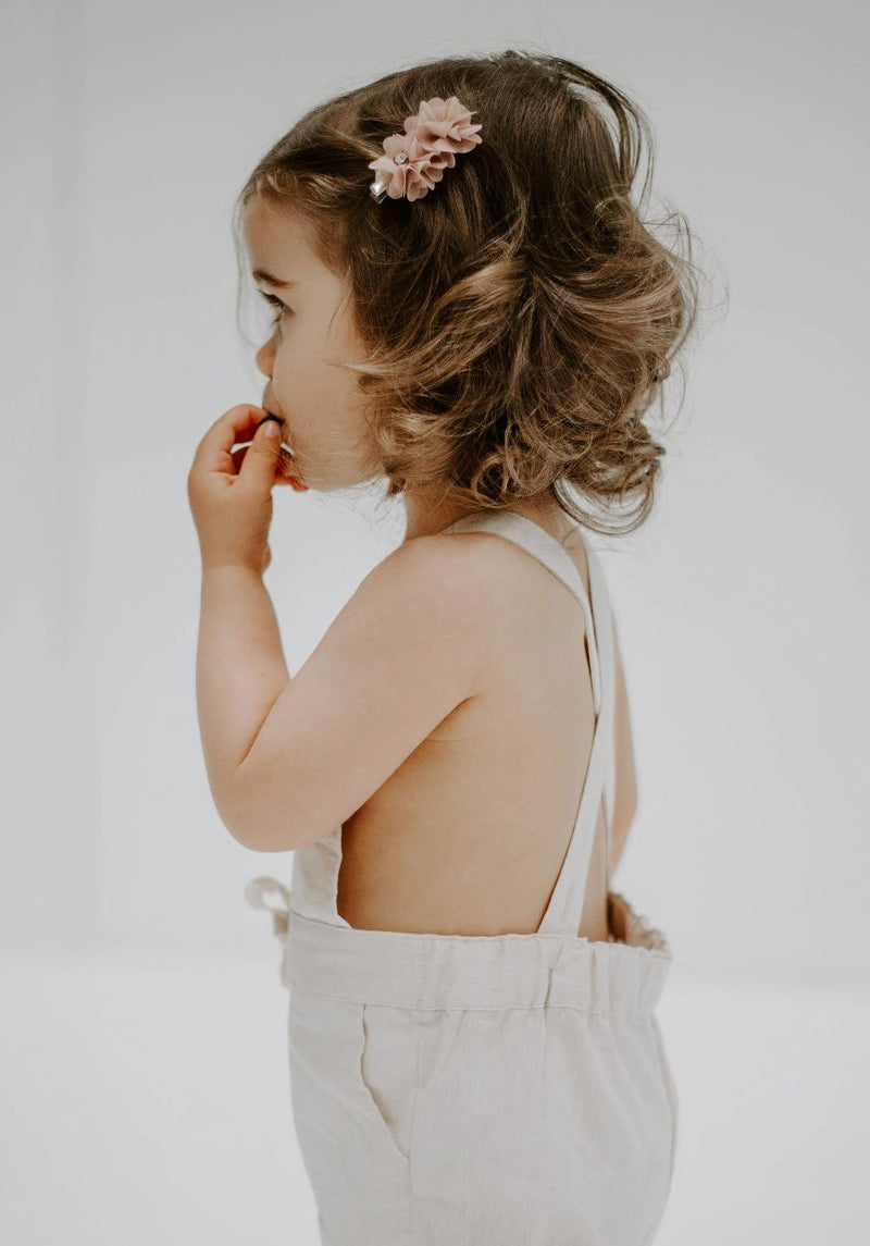 Miann & Co Baby – Cross Back Overalls – Natural Linen - MIANN & CO