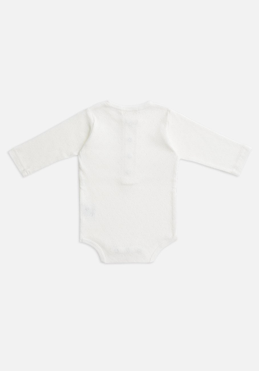 Miann & Co Baby - Organic Cotton Baby Basics - Pointelle Long Sleeve Bodysuit - Ivory