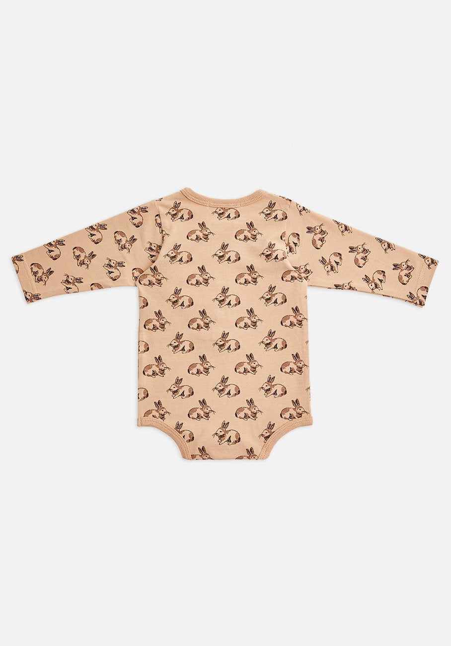 Miann & Co Baby - Organic Cotton Baby Basics - Long Sleeve Bodysuit - Marlow Bunny