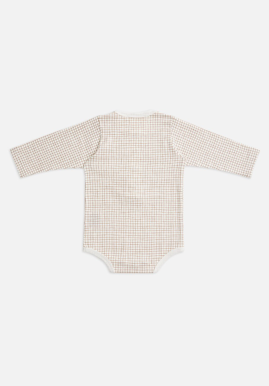 Miann & Co Baby - Organic Cotton Baby Basics - Long Sleeve Bodysuit - Cinnamon Grid