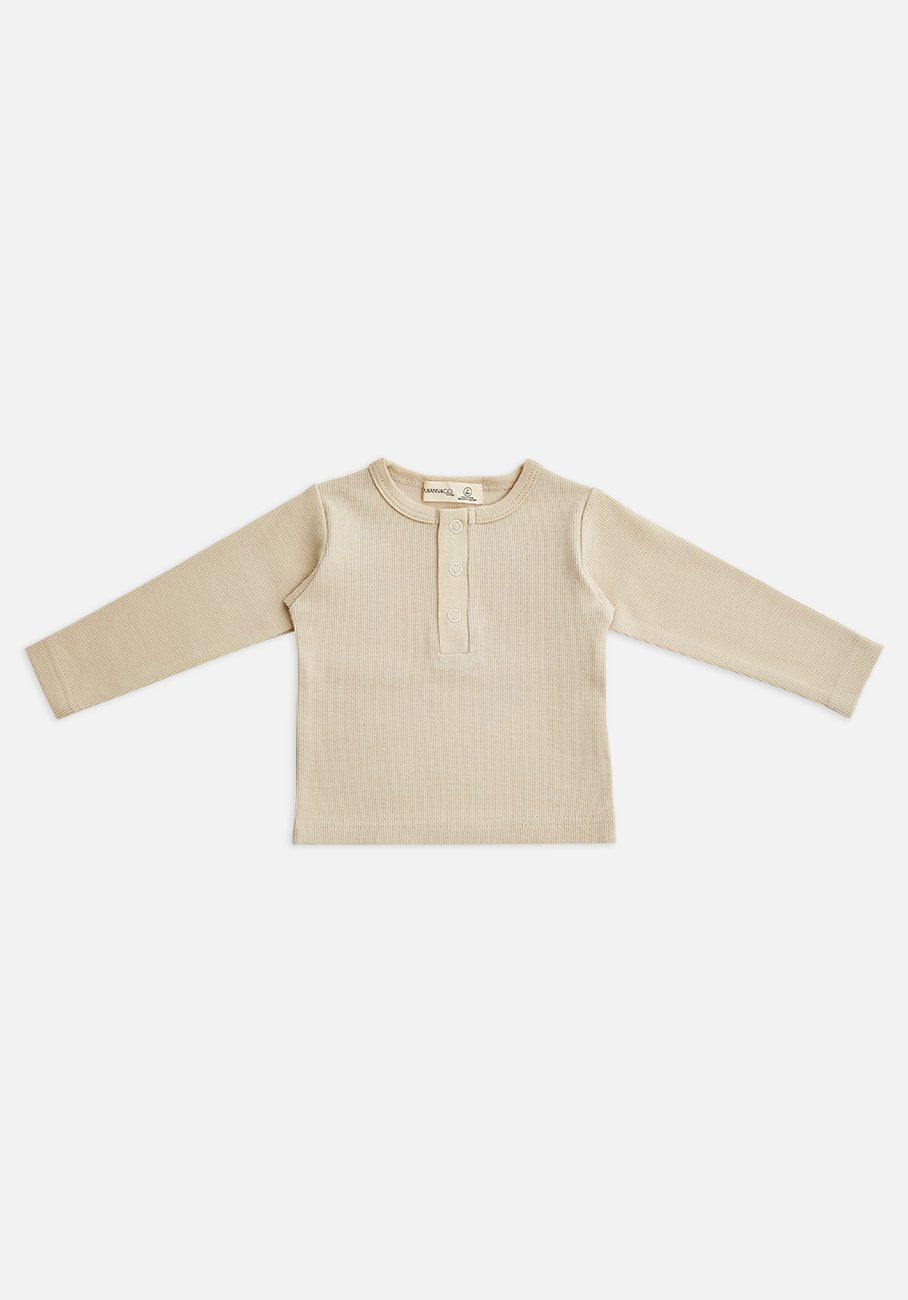 Miann & Co Kids - Organic Cotton Kids Basics - Ribbed Long Sleeve T-Shirt - Teddy