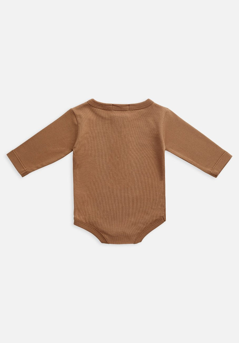 Miann & Co Baby - Organic Baby Cotton Basics - Long Sleeve Bodysuit - Café Au Lait