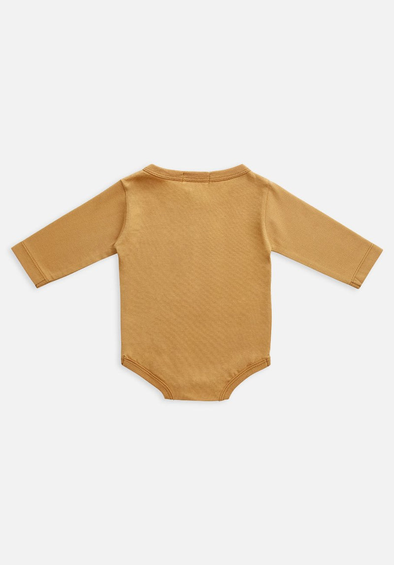 baby organic yellow orange clay bodysuit