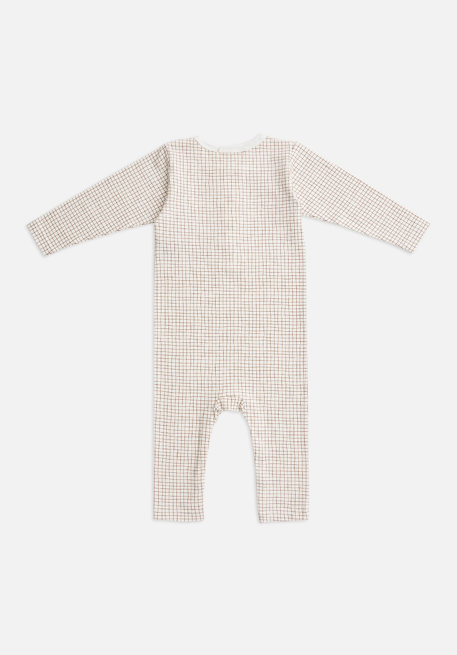 Miann & Co Baby - Organic Cotton Baby Basics - Long Sleeve Jumpsuit - Cinnamon Grid