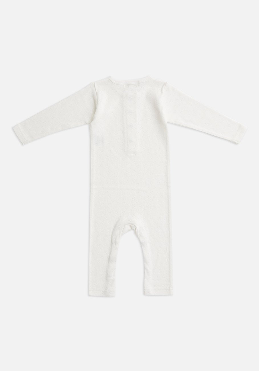 Miann & Co Baby - Organic Cotton Baby Basics - Pointelle Long Sleeve Jumpsuit - Ivory