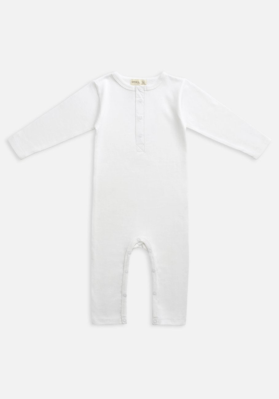 Miann & Co Baby - Organic Baby Cotton Basics - Full Sleeve Jumpsuit - Optic White