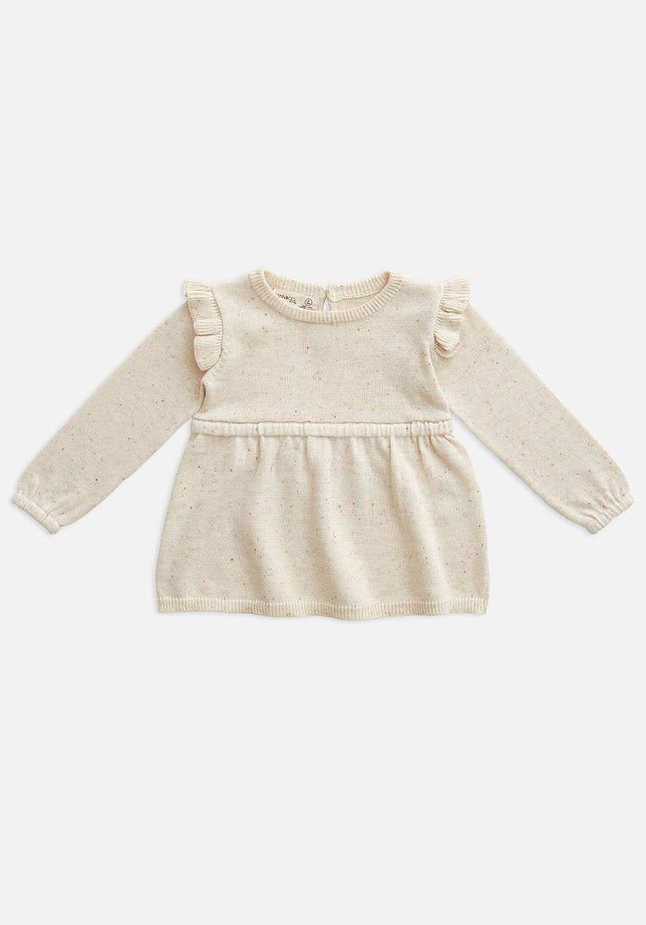 Miann & Co Baby - Frill Knit Dress - Biscotti Speckle