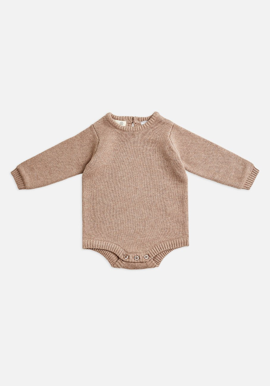 Miann & Co Baby - Long Sleeve Knit Baby Suit - Taupe