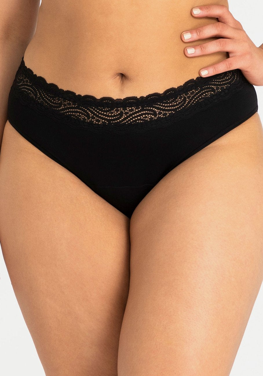 Modibodi - Sensual Hi-Waist Bikini Light-Moderate Absorbency - Black