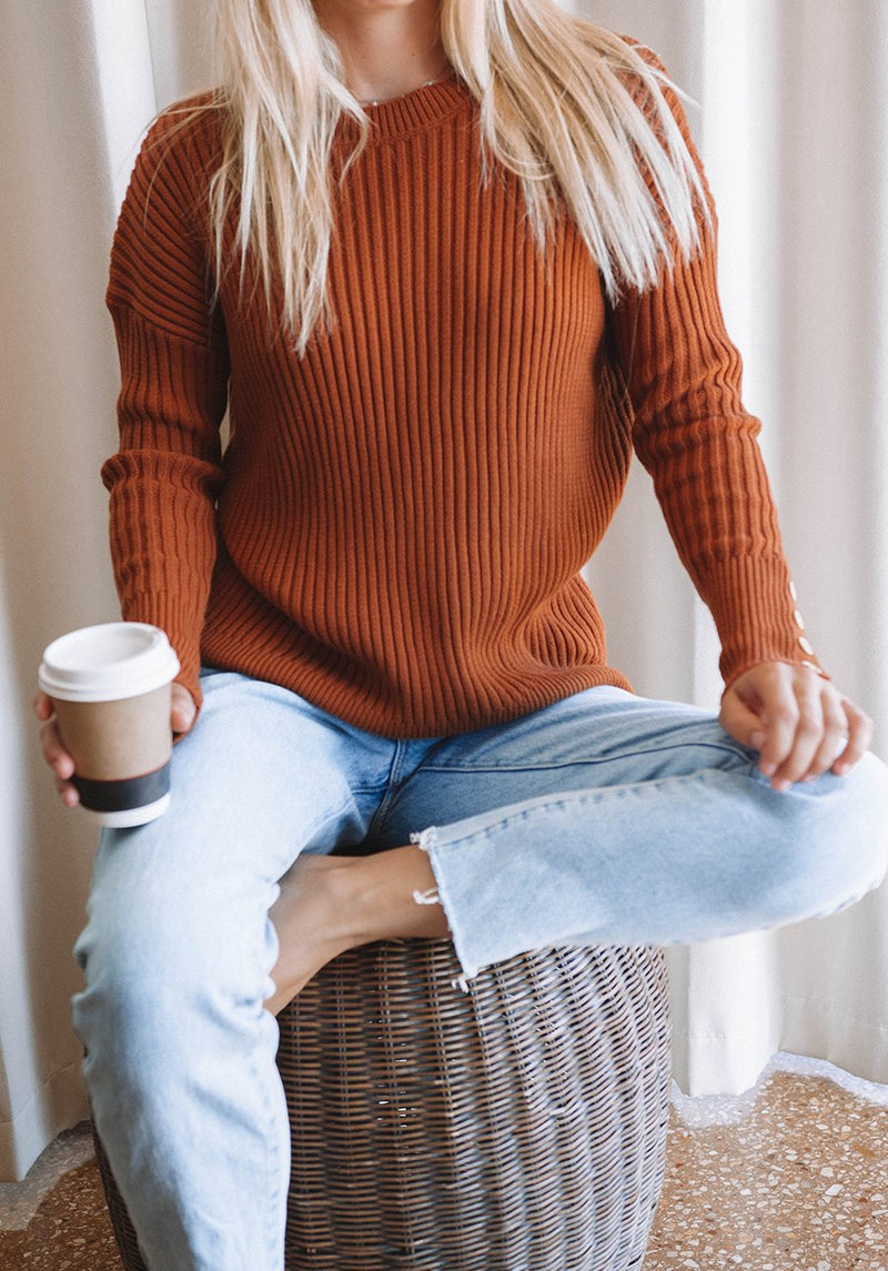 Miann & Co Womens - Willow Rib Knit Jumper - Burnt Amber
