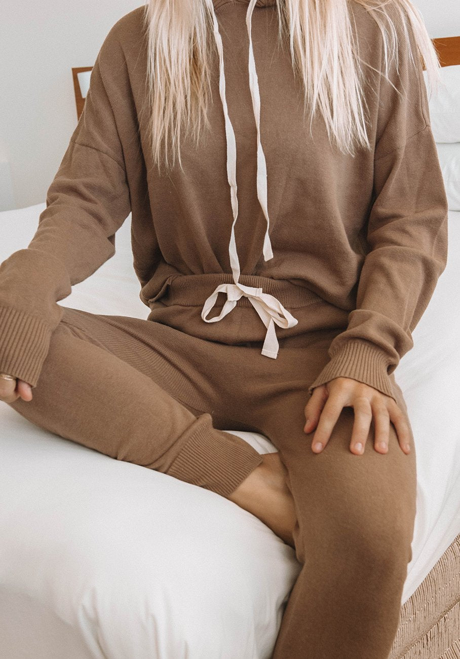 Womens brown knit pant