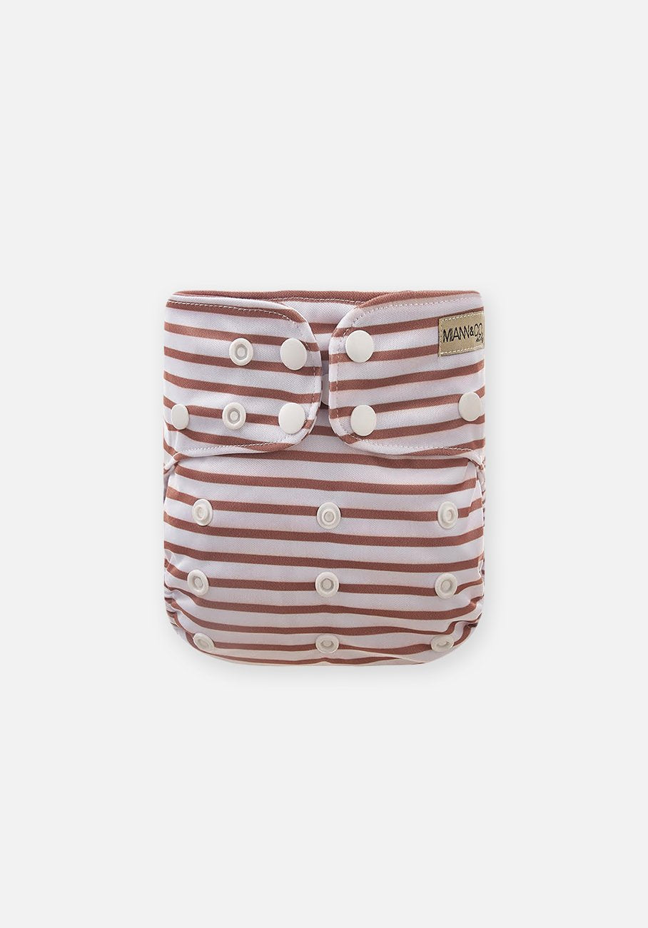 Miann & Co - Reusable Cloth Nappy - Cafe Au Lait Stripe