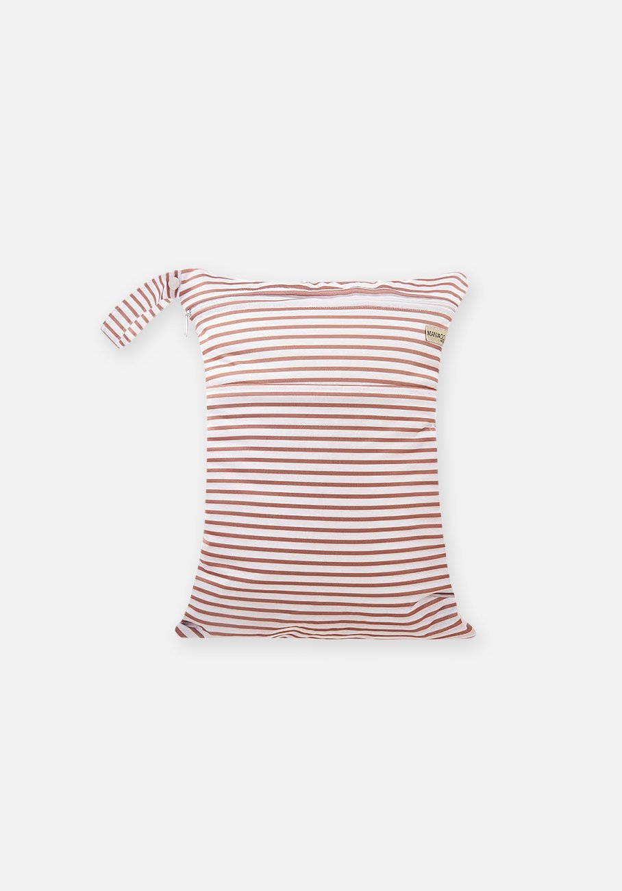Reusable Cloth Nappy - Reusable Wet Bag - Cafe Au Lait Stripe