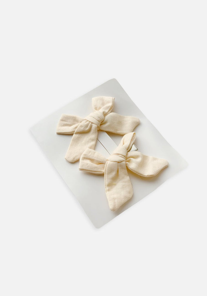 Large Bow Clip - Antique White