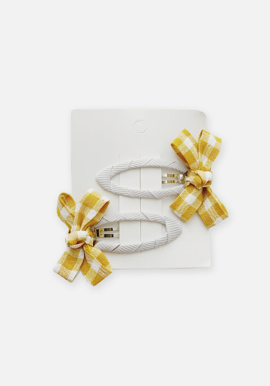 Small Bow Hair Clip - Mustard Gingham