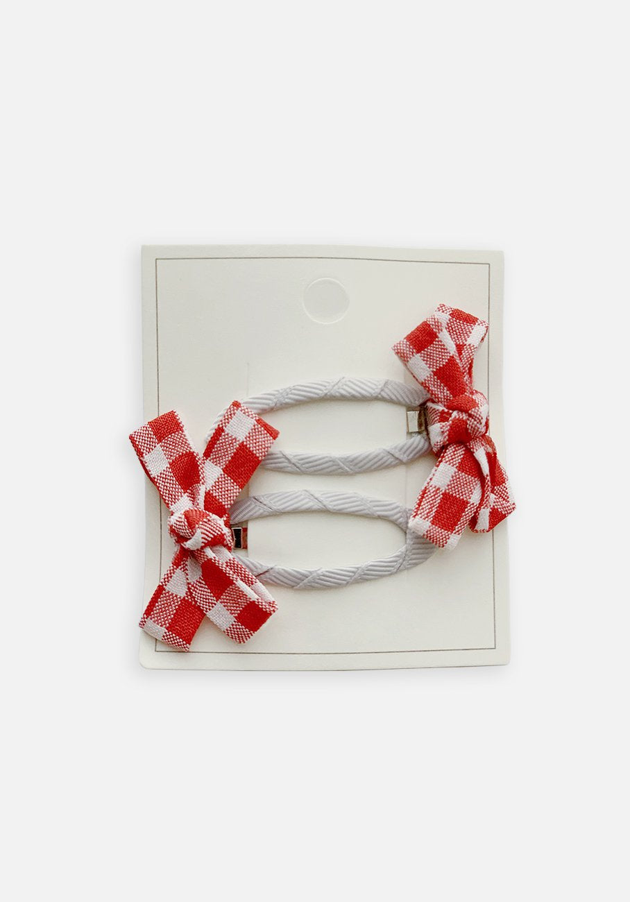 Small Bow Hair Clip - Crimson Gingham