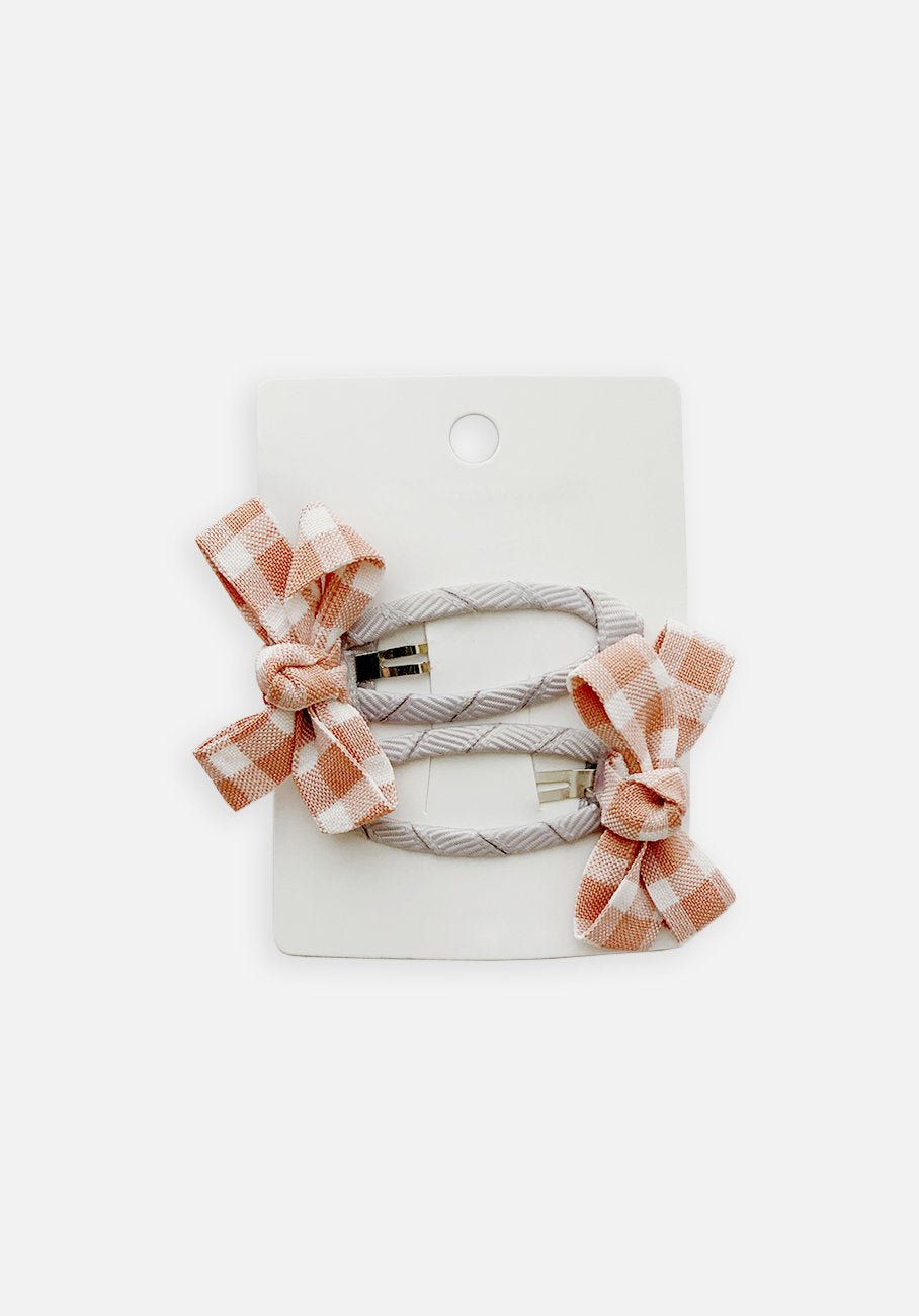 Small Bow Hair Clip - Rose Gingham