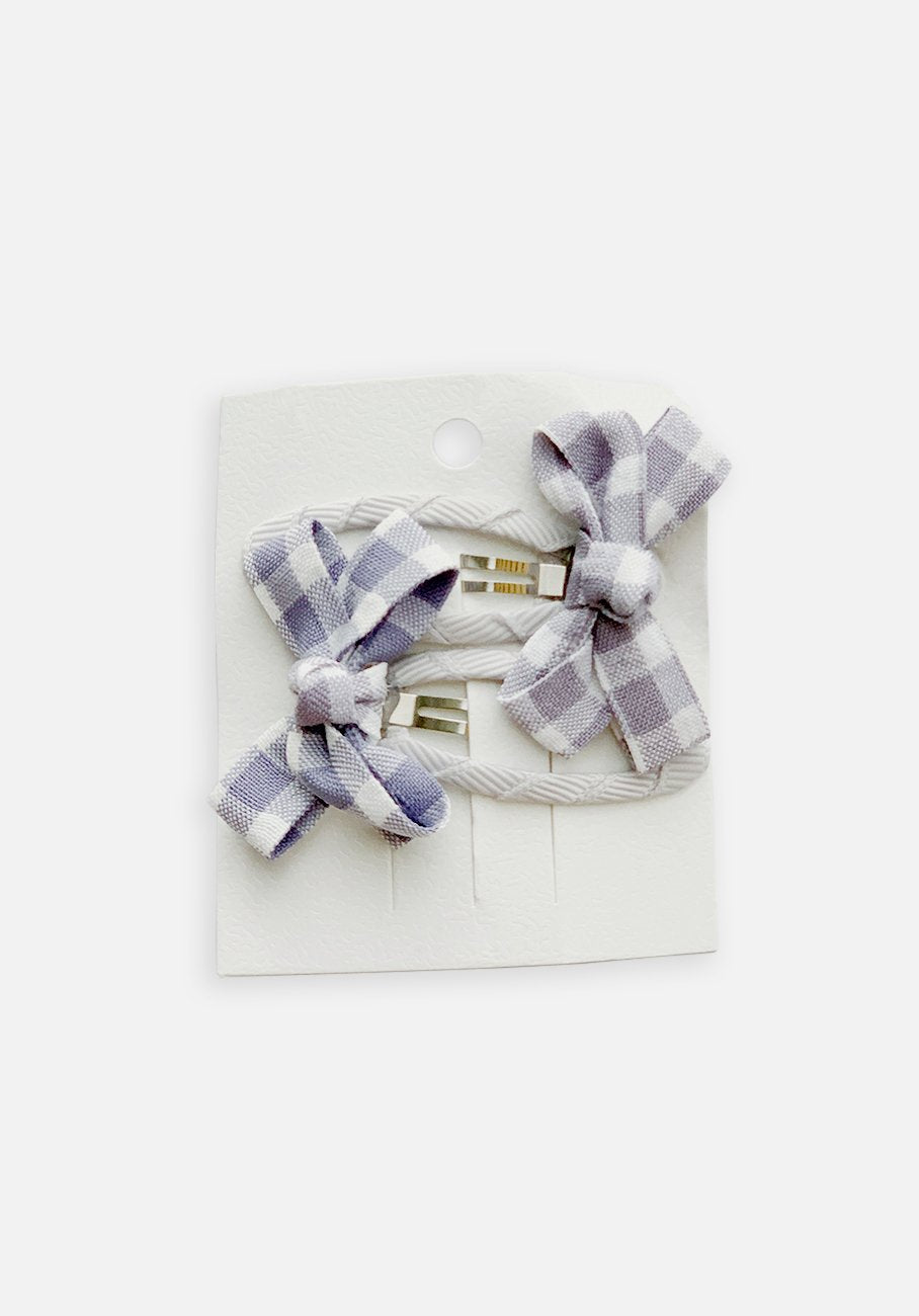 Small Bow Hair Clip - Periwinkle Gingham