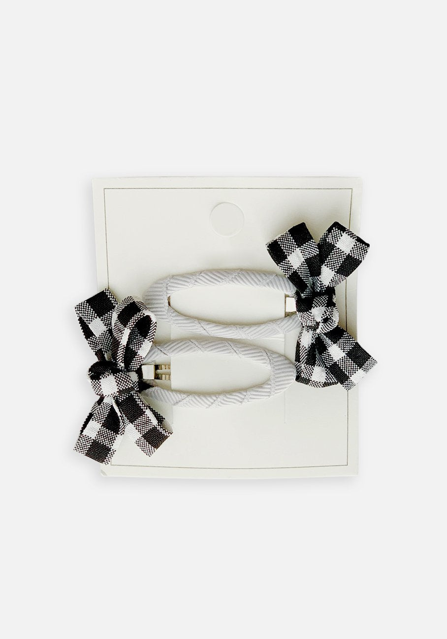 Small Bow Hair Clip - Black Gingham