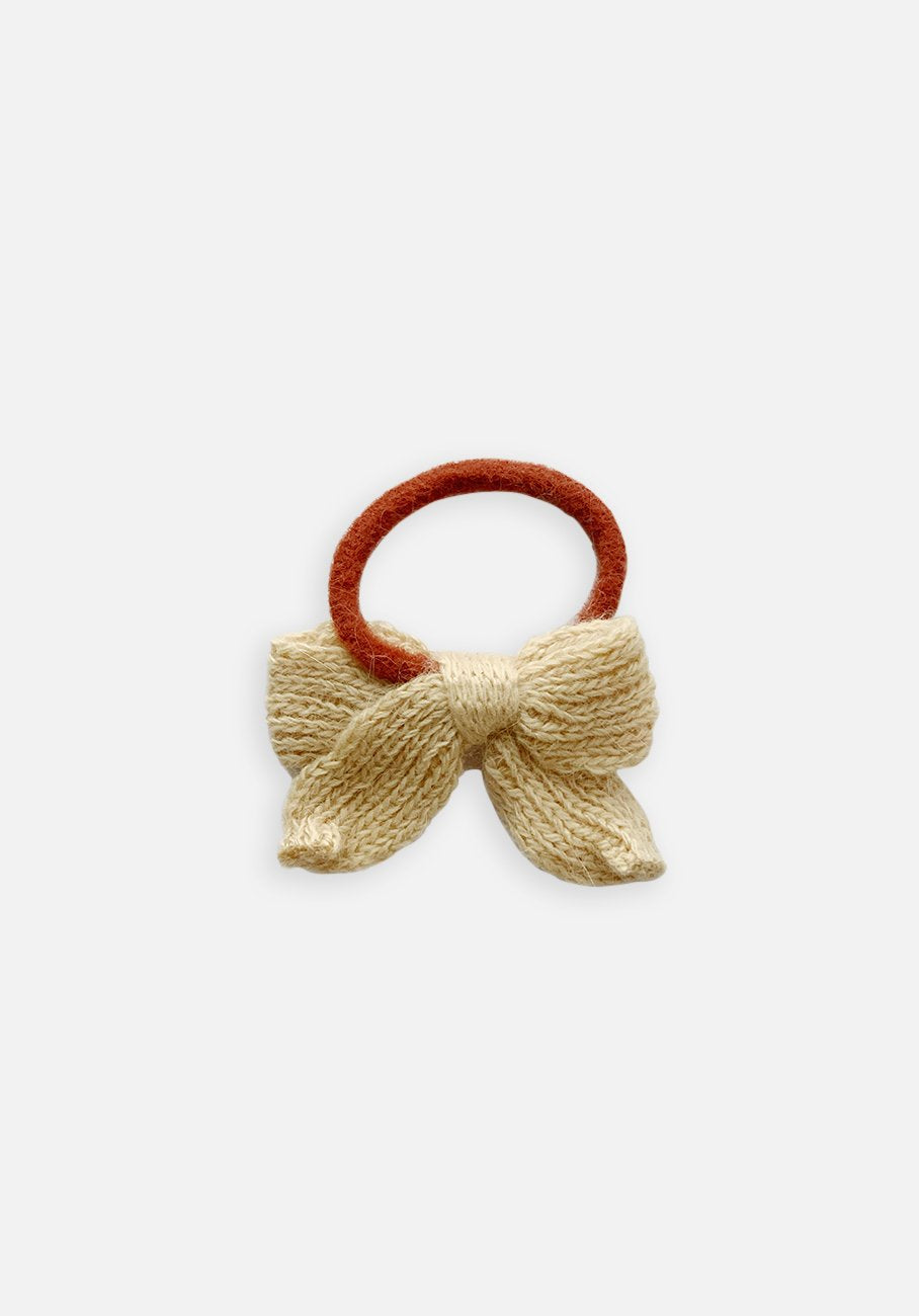 Knit Bow Hair Tie - Natural