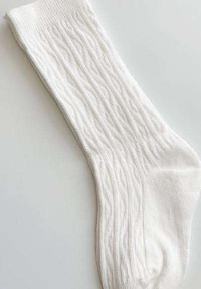 White Ribbed Socks - 1-2 Years