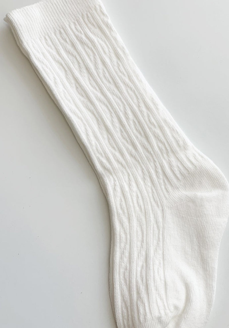 White Ribbed Socks - 3-5 Years