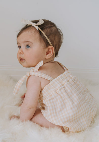 Baby yellow gingham tie shoulder bodysuit