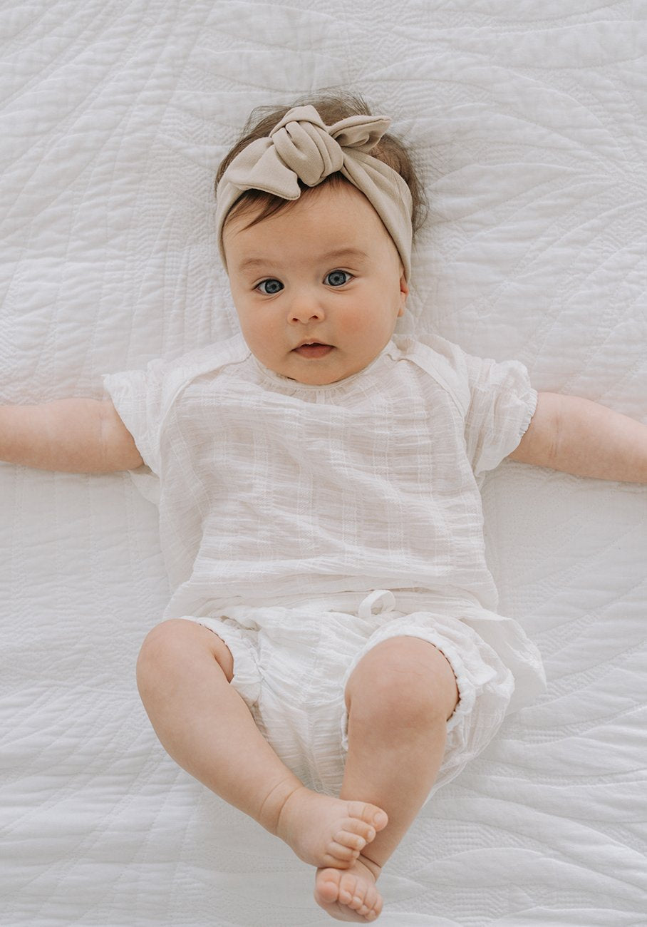Baby white bloomer shorts
