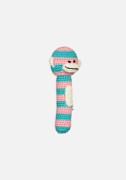 Miann & Co Hand Rattle - Turquoise stripe Monkey