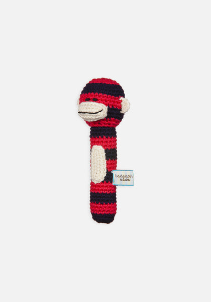 Miann & Co Hand Rattle - Navy and Red Monkey