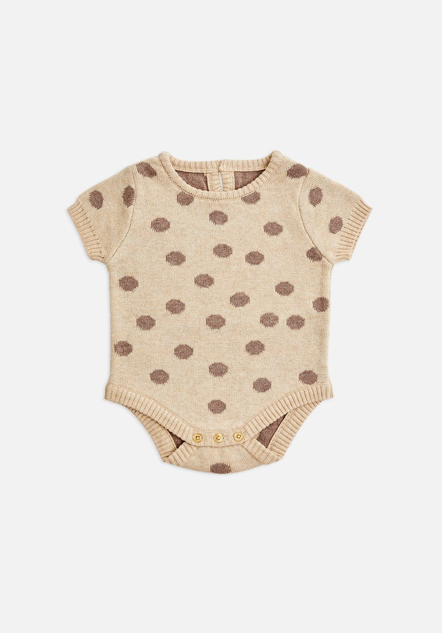 Miann & Co Baby - Short Sleeve Baby Suit - Taupe Spot