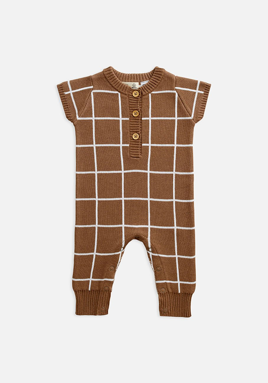 Miann & Co Baby - Short Sleeve Bodysuit - Café Au Lait Grid