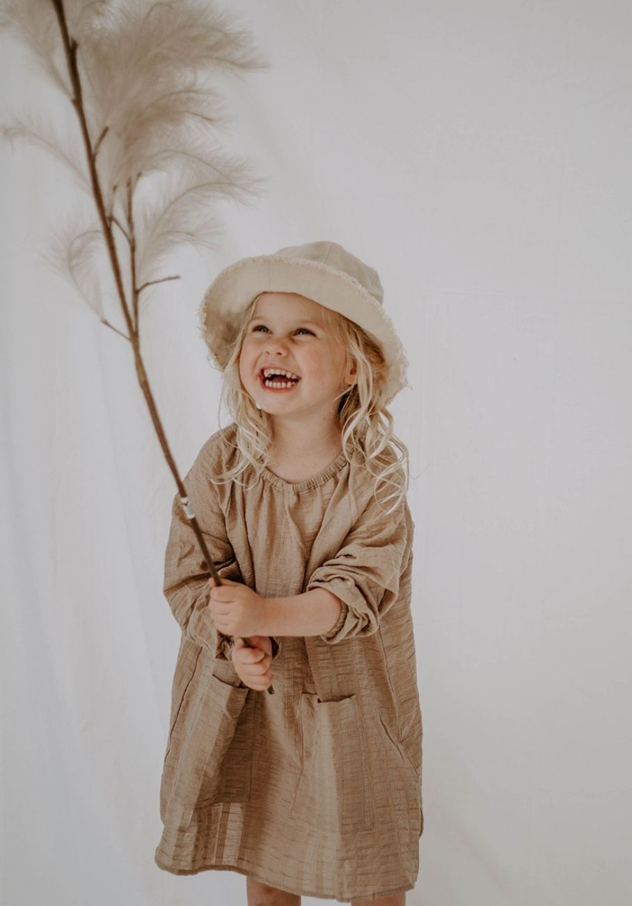 Miann & Co Kids - Elasticated Smock Dress - Hazelnut