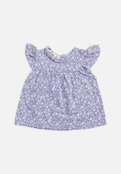 Miann & Co Baby – Short Sleeve Frill Top – Lavender Grey Floral - MIANN & CO
