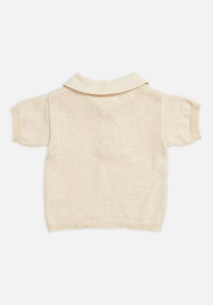Miann & Co Kids - Short Sleeve Knit Polo - Eggnog