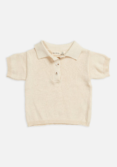 Miann & Co Baby – Short Sleeve Knit Polo – Eggnog - MIANN & CO