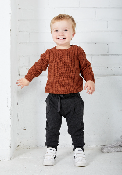 Miann & Co Baby – Knit Pants – Charcoal - MIANN & CO