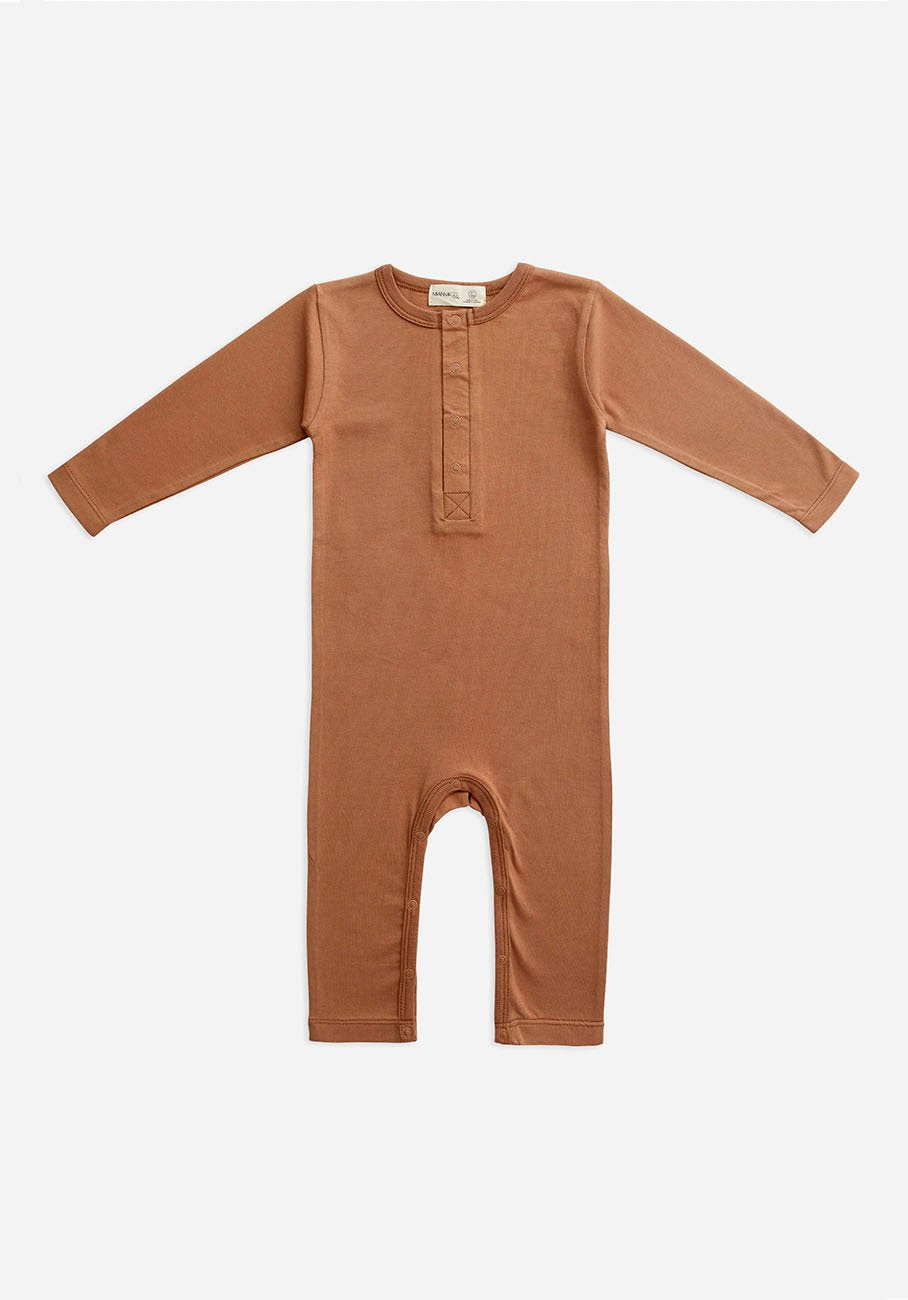 Miann & Co Baby - Organic Baby Cotton Basics - Full Sleeve Jumpsuit - Café Au Lait