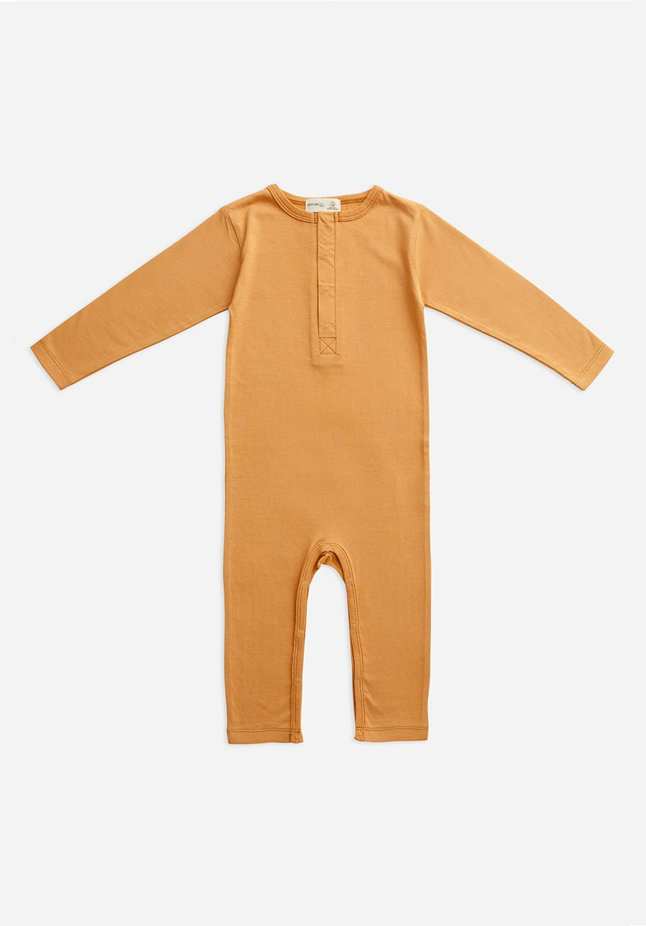 baby organic orange clay jumpsuit